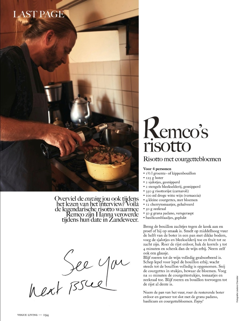 Remco's Risotto in Vogue Living